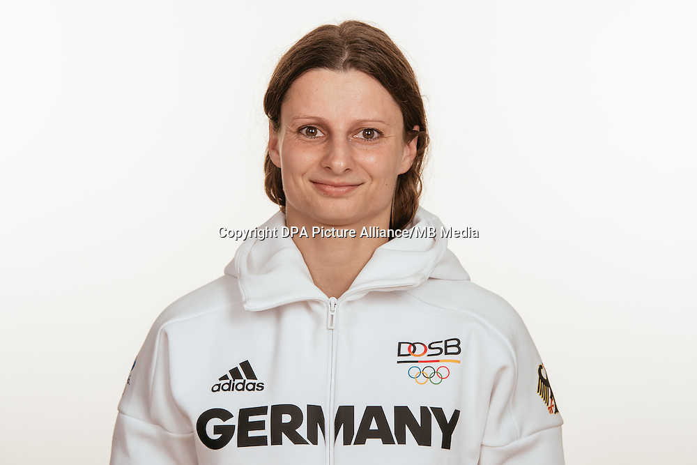 Maren Kräh poses at a photocall during the preparations for the Olympic Games in Rio at the Emmich Cambrai Barracks in Hanover, Germany, taken on 12/07/16   usage worldwide