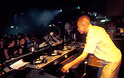 A DJ performs, U.K, 1990s