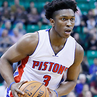 25 January 2016: Detroit Pistons forward Stanley Johnson (3) looks to pass the ball during the Detroit Pistons 95-92 victory over the Utah Jazz, at the Vivint Smart Home Arena, Salt Lake City, Utah, USA.