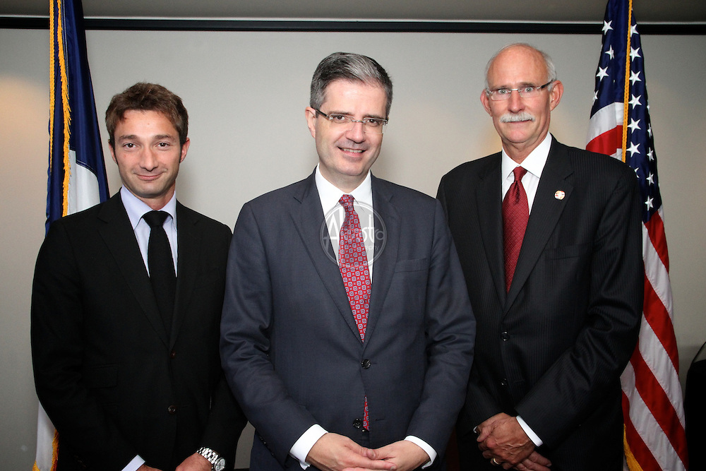 French American Chamber of Commerce Luncheon with François Delattre (Ambassador of France to the United States) and Romain Serman (Consul General of France in San Francisco) with Alan Merkle (President FACCPNW), Oct 2012, Seattle.