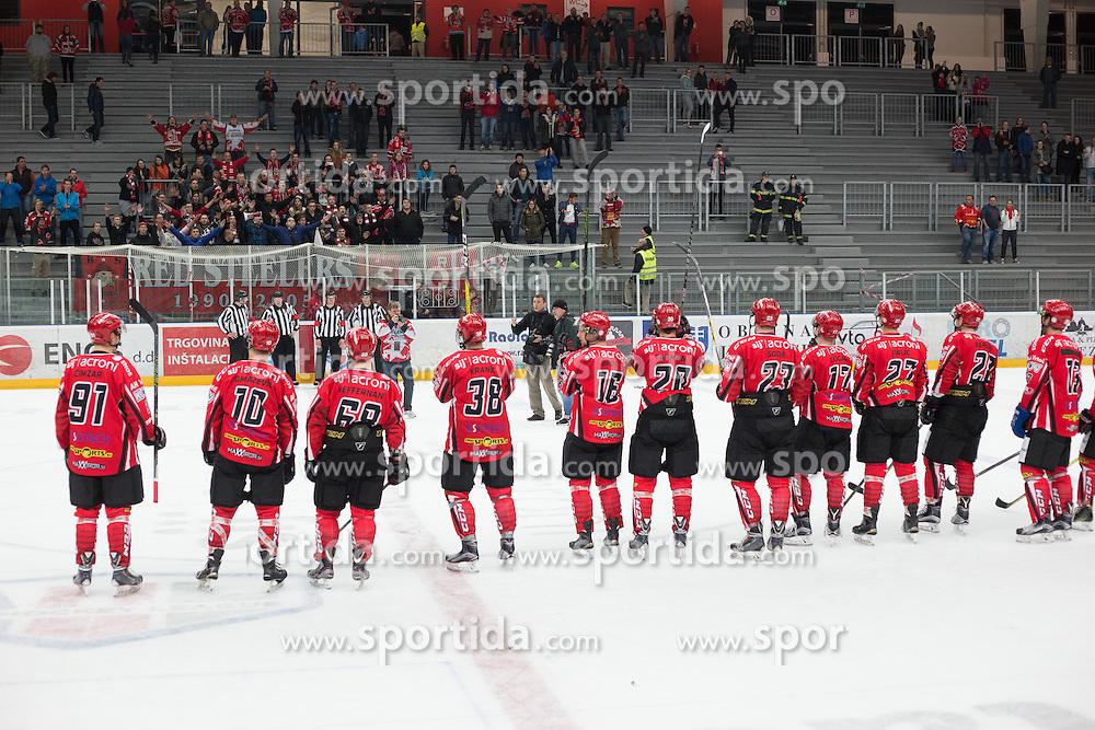 Players of Jesenice greet fans after ice hockey match between HDD SIJ Acroni Jesenice and HDD Olimpija Ljubljana in Super Cup 2016, on October 11, 2016 in Podmezaklja, Slovenia. Photo by Gregor Podrekar/ Sportida