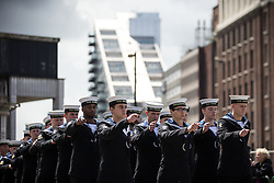 © Licensed to London News Pictures . 01/07/2016 . Manchester , UK . Navy parades to Manchester Cathedral . Somme100 events in Manchester City Centre to commemorate the 100th anniversary of the first day of the Battle of the Somme . Photo credit : Joel Goodman/LNP