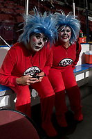 KELOWNA, CANADA - OCTOBER 28: Kelowna Rockets' team photographers Marissa Baecker and Cindy Rogers pose in the penalty box dressed as Photo 1 and Photo 2 for Halloween against the Prince George Cougars on October 28, 2017 at Prospera Place in Kelowna, British Columbia, Canada.  (Photo by Marissa Baecker/Shoot the Breeze)  *** Local Caption ***