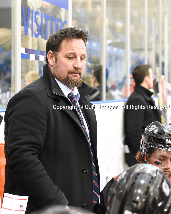 OAKVILLE, ON - APR 8,  2017: Ontario Junior Hockey League, South West Conference Championship game between Oakville Blades and the Georgetown Raiders, Georgetown Raiders Head Coach / GM Greg Walters during the first period.<br /> (Photo by Andy Corneau / OJHL Images)