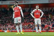 Arsenal midfielder Bukayo Saka (87) and Arsenal defender Sead Kolasinac (31) during the Premier League match between Arsenal and Fulham at the Emirates Stadium, London, England on 1 January 2019.