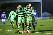 Forest Green Rovers Keanu Marsh-Brown(7) Forest Green Rovers Christian Doidge(9) and celebrates during the Vanarama National League match between Eastleigh and Forest Green Rovers at Arena Stadium, Eastleigh, United Kingdom on 10 January 2017. Photo by Shane Healey.