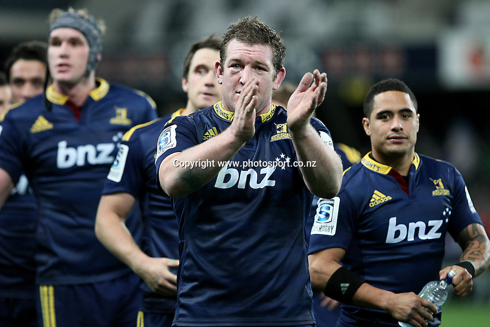 Chris King of the Highlanders celebrates their win against the Chiefs in the Super 15 rugby match, Highlanders v Chiefs, Forsyth Barr Stadium, Dunedin, New Zealand, Friday, June 27, 2014. Photo: Dianne Manson / www.photosport.co.nz