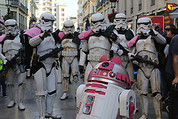May 5, 2018 - Malaga, Spain - Thousands of people gather in Malaga to see the charity Star Wars parade organized by the Andres Olivares Foundation.The members of the Legion 501, More than 200 uniformed soldiers have left the Palm of Surprises the Android R2-KT, unique in Europe. After them, 170 members of the Legion 501, ten of the Mandalorian Mercs and 48 cadets of the Galactic. (Credit Image: © Lorenzo Carnero via ZUMA Wire)