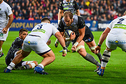 Ospreys' Alun Wyn Jones is tackled by Clermont Auvergne's Rabah Slimani - Mandatory by-line: Craig Thomas/JMP - 15/10/2017 - RUGBY - Liberty Stadium - Swansea, Wales - Ospreys Rugby v Clermont Auvergne - European Rugby Champions Cup