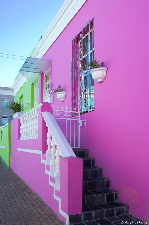 Brightly painted houses in the Bo Kaap neighborhood of Cape Town, South Africa.