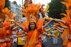 London, August 29th 2016. The procession moves along Ladbroke Grove during day two of Europe's biggest street party, the Notting Hill Carnival.
