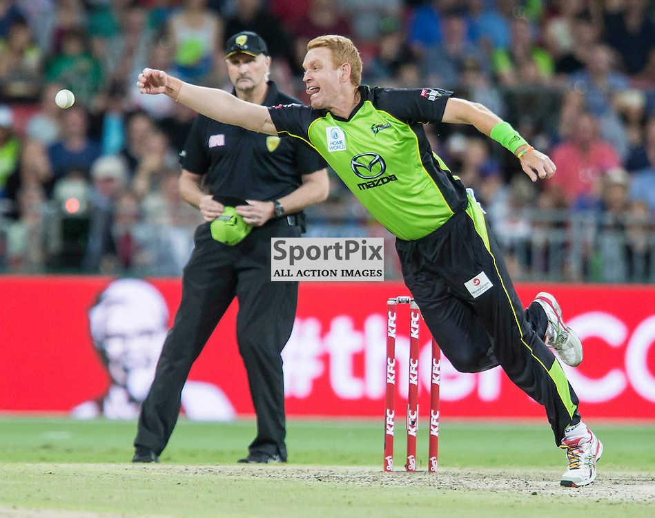 KFC Big Bash League T20 2015-16 , Sydney Thunder v Perth Scorchers, Spotless Stadium; 7 January 2016<br /> Sydney Thunder Andrew McDonald just misses a caught and bowled opportunity