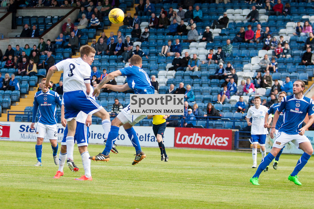 Jamie Redman (Peterhead 8) gets a header towards goal in the Stranraer v Peterhead Ladbrokes SPFL Scottish Division 1 at Stair Park in Stranraer 15 August 2015<br />
