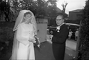 "16/09/1967<br /> 09/16/1967<br /> 16 September 1967<br /> Wedding of Mr Francis W. Moloney, 28 The Stiles Road, Clontarf and Ms Antoinette O'Carroll, ""Melrose"", Leinster Road, Rathmines at Our Lady of Refuge Church, Rathmines, with reception in Colamore Hotel, Coliemore Road, Dalkey. Image shows the bride leaving home  by car before  the ceremony with her father Mr Dudley O'Carroll."