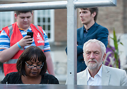 © Licensed to London News Pictures. 08/08/2016. Bristol, UK. DIANE ABBOTT MP, with JEREMY CORBYN, leader of the Labour Party waiting to speak at a rally on Bristol's College Green as part of his election campaign for the leadership of the Labour Party against challenger Owen Smith. Photo credit : Simon Chapman/LNP