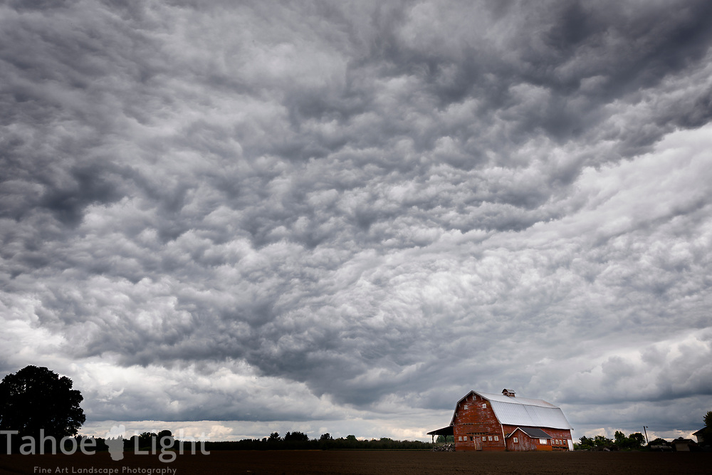 Vintage landscape. Stormy clouds and an old red barn.