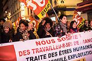 18122014. Paris. Les grèvistes du 57 manifestent lors d'un rassemblement de travailleurs migrants.