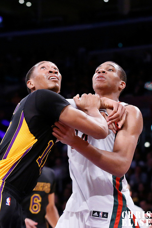 27 February 2015: Milwaukee Bucks forward Giannis Antetokounmpo (34) vies for the rebound with Los Angeles Lakers forward Wesley Johnson (11) during the Los Angeles Lakers 101-93 victory over the Milwaukee Bucks, at the Staples Center, Los Angeles, California, USA.