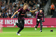 Wicket - Tom Lammonby of Somerset celebrates taking the wicket of A.B De Villiers of Middlesex during the Vitality T20 Blast South Group match between Somerset County Cricket Club and Middlesex County Cricket Club at the Cooper Associates County Ground, Taunton, United Kingdom on 30 August 2019.