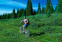 Mountain biking on Vail Pass, Colorado USA