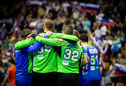 Urh Kastelic of Slovenia and Rok Zaponsek of Slovenia celebrate after winning during handball match between National teams of Slovenia and Netherlands in Qualifications of 2020 Men's EHF EURO, on April 14, 2019, in Arena Zlatorog, Celje, Slovenia. Photo by Vid Ponikvar / Sportida