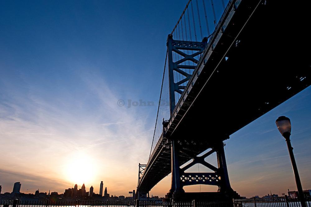 Benjamin Franklin Bridge connecting Philadelphia and Camden, New Jersey, USA