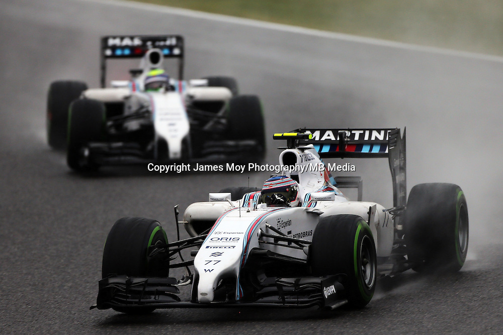 Valtteri Bottas (FIN) Williams FW36 leads team mate Felipe Massa (BRA) Williams FW36.<br /> Japanese Grand Prix, Sunday 5th October 2014. Suzuka, Japan.
