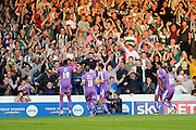 Plymouth fans go wild after their team equalises with a Plymouth Argyle's Jamille Matt goal during the Sky Bet League 2 play-off first leg match between Portsmouth and Plymouth Argyle at Fratton Park, Portsmouth, England on 12 May 2016. Photo by Graham Hunt.
