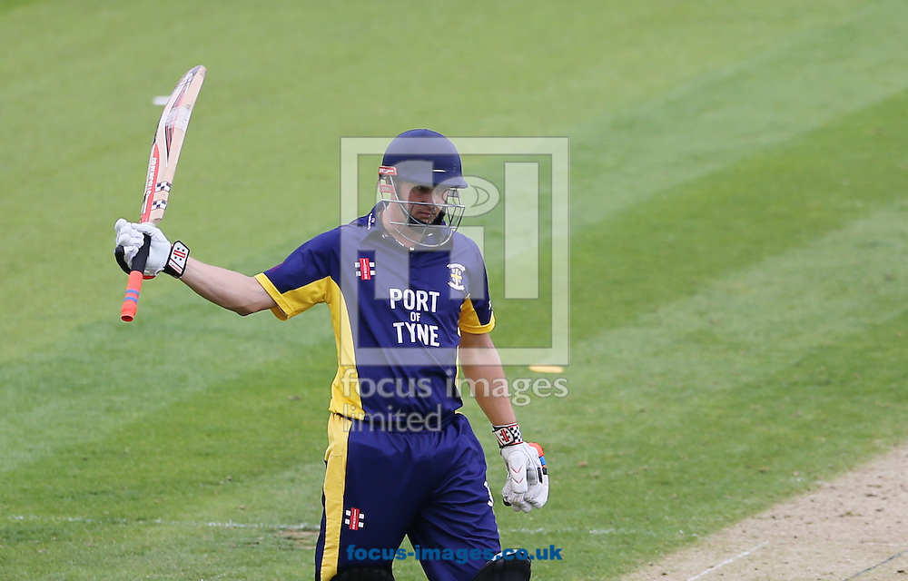 Phil Mustard of Durham County Cricket Club acknowledges the crowd after hitting a half century during the Royal London One Day Cup match at Emirates Durham ICG, Chester-le-Street<br /> Picture by Simon Moore/Focus Images Ltd 07807 671782<br /> 06/09/2014