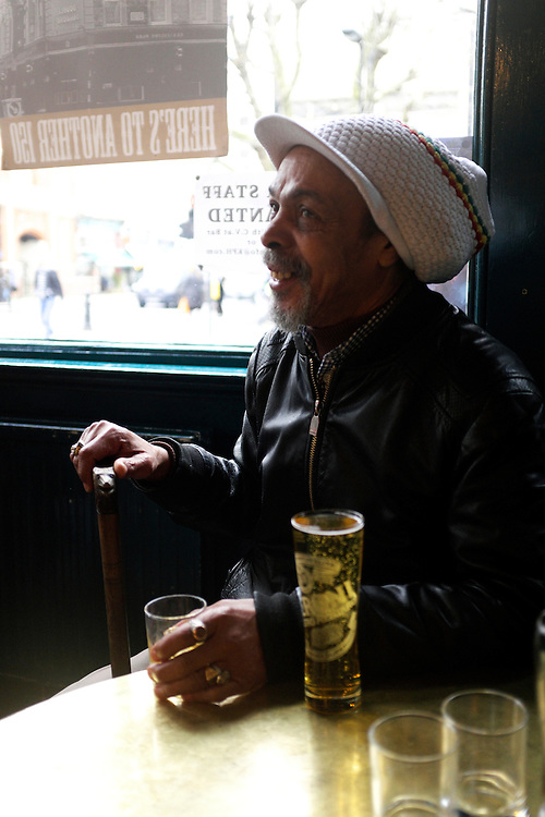 Lindsay, a pub regular for 40 years sitting in his usual spot on the afternoon before the closing party. 4th April 2016. The KPH pub. Ladbroke Grove. London.