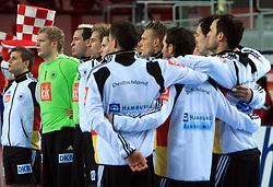 Team of Germany singing national song during 21st Men's World Handball Championship preliminary Group C match between FYR Macedonia and Germany, on January 21, 2009, in Arena Varazdin, Varazdin, Croatia. (Photo by Vid Ponikvar / Sportida)