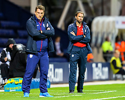 Andi Herzog, Manager of USA U23's and England U21 Manager, Gareth Southgate  - Mandatory byline: Matt McNulty/JMP - 07966386802 - 03/09/2015 - FOOTBALL - Deepdale Stadium -Preston,England - England U21 v USA U23 - U21 International