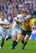 Twickenham, United Kingdom, Owen FARRELL, breacking through to score his try during the 2013 QBE Autumn<br /> Rugby International, England vs Australia, played<br /> Saturday  02/11/2013.  RFU Stadium Twickenham,<br /> England. [Mandatory Credit: Peter Spurrier/Intersport<br /> Images]