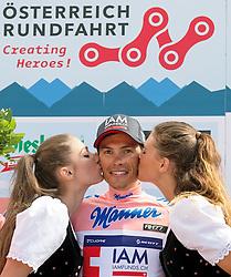 10.07.2015, Kitzbühel, AUT, Österreich Radrundfahrt, 6. Etappe, Lienz auf das Kitzbühler Horn, im Bild Stefan Denifl (AUT, Bester Österreicher) // best Austrian rider Stefan Denifl of Austria during the Tour of Austria, 6th Stage, from Lienz to the Kitzbühler Horn, Kitzbühel, Austria on 2015/07/10. EXPA Pictures © 2015, PhotoCredit: EXPA/ Reinhard Eisenbauer