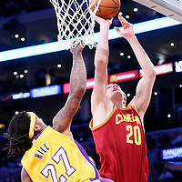 15 January 2015: Cleveland Cavaliers center Timofey Mozgov (20) goes for the layup against Los Angeles Lakers center Jordan Hill (27) during the Cleveland Cavaliers 109-102 victory over the Los Angeles Lakers, at the Staples Center, Los Angeles, California, USA.