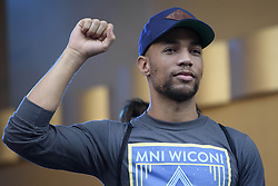 """October 23, 2016 - Los Angeles, California, United States - Actor Kendrick Sampson attends Climate Revolution Rally in Los Angeles, California. October 23, 2016. The rally is part of a series of """"Climate Revolution"""" rallies held across the country to inform people about issues related to climate change and social justice. (Credit Image: © Ronen Tivony/NurPhoto via ZUMA Press)"""