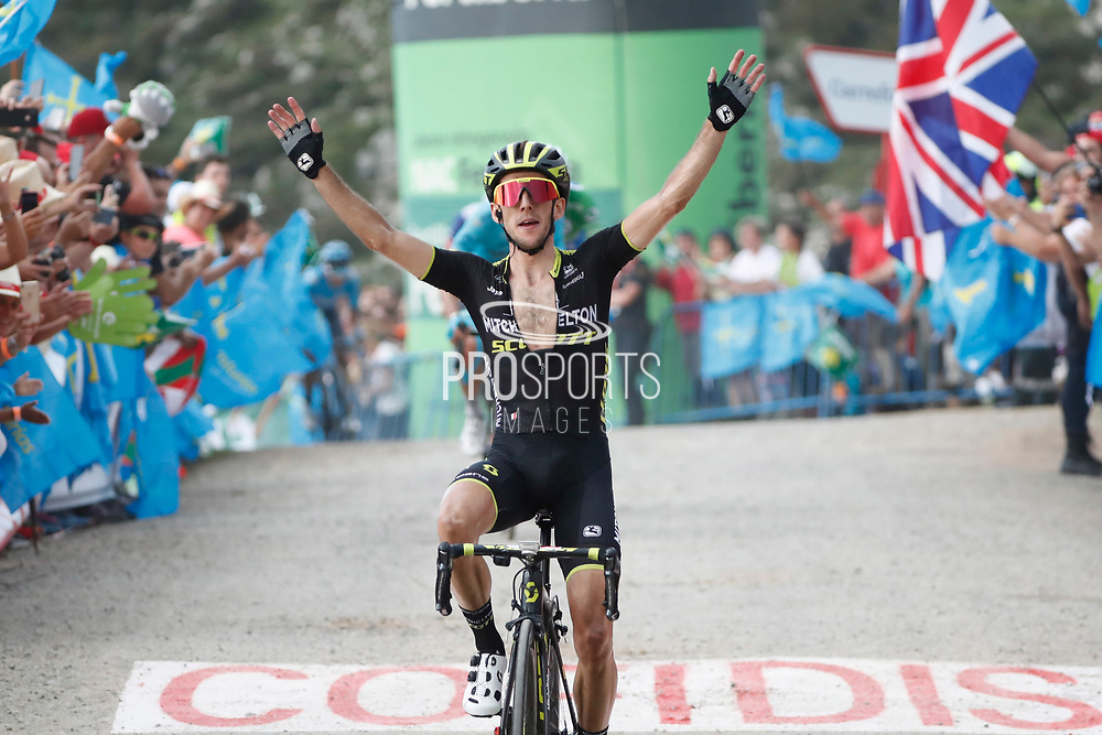 Simon Yates (GBR, Mitchelton Scott), celebrating his stage victory during the 73th Edition of the 2018 Tour of Spain, Vuelta Espana 2018, Stage 14 cycling race, Cistierna - Les Praeres Nava 171 km on September 8, 2018 in Spain - Photo Angel Gomez/ BettiniPhoto / ProSportsImages / DPPI