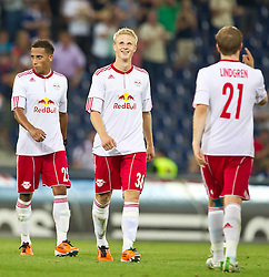 25.08.2011, Red Bull Arena, Salzburg, AUT, UEFA EL, Red Bull Salzburg vs Omonia Nikosia, im Bild Jubel bei Salzburg nach dem Aufstieg in die Gruppenphase, Jefferson (Red Bull Salzburg, #25), Martin Hinteregger (Red Bull Salzburg, #36) Rasmus Lindgren (Red Bull Salzburg, #21) und Ibrahim Sekagya (Red Bull Salzburg, #23)  // during the UEFA Europaleague 2nd Leg Match, Red Bull Salzburg against Omonia Nikosia, Red Bull Arena, Salzburg, 2011-08-25, EXPA Pictures © 2011, PhotoCredit: EXPA/ J. Feichter