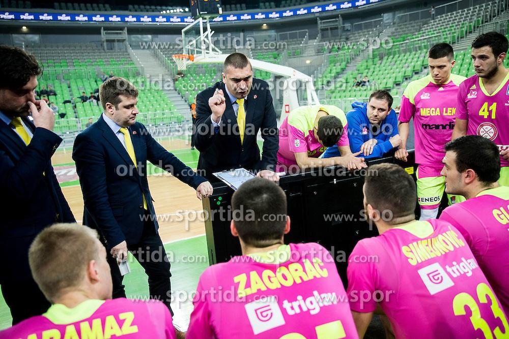 Dejan Milojevic, coach of Mega Leks during basketball match between KK Union Olimpija Ljubljana and KK mega Leks in 14th Round of ABA League 2016/17, on December 18, 2016 in Arena Stozice, Ljubljana, Slovenia. Photo by Vid Ponikvar / Sportida