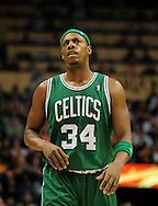 Jan. 28, 2011; Phoenix, AZ, USA; Boston Celtics forward Paul Pierce (34) reacts on the court against the Phoenix Suns at the US Airways Center.  The Suns defeated the Celtics 88-71. Mandatory Credit: Jennifer Stewart-US PRESSWIRE