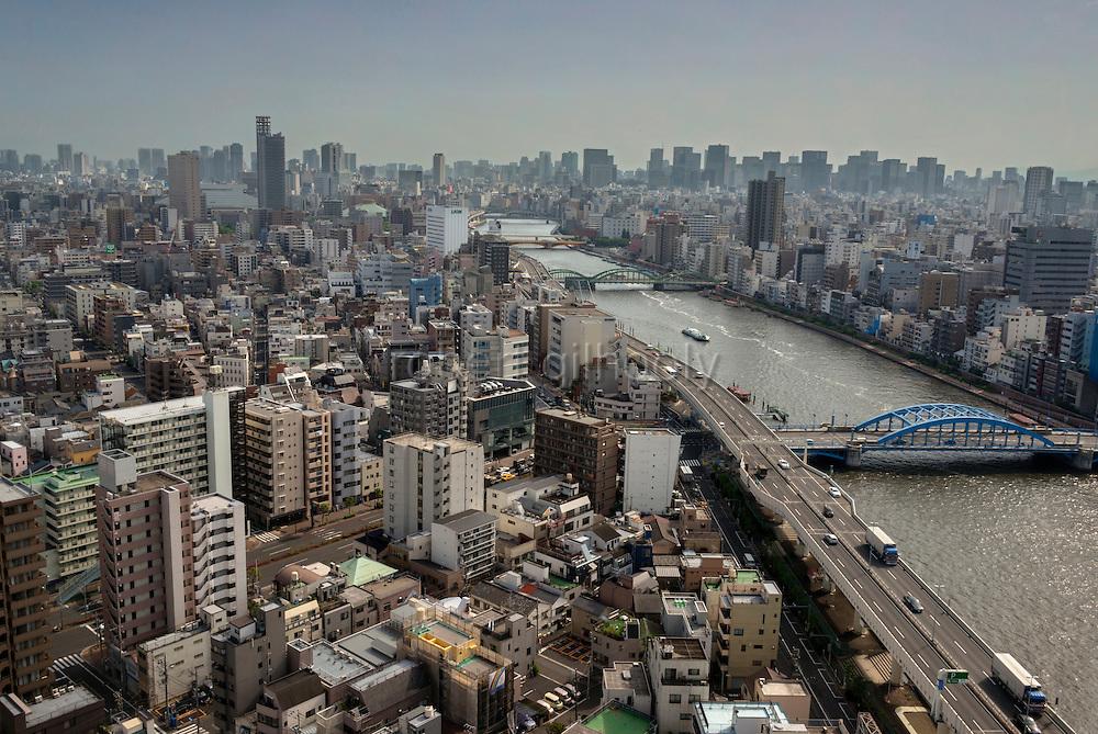 Photo shows the Sumida River from the Asahi Beer Hall in Asakusa district, Tokyo, Japan. ROB GILHOOLY