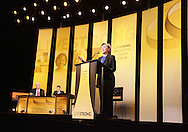 27 August 2007: Democratic presidential hopeful Senator Hillary Clinton (D-NY) speaks at the LIVESTRONG Presidential Cancer Forum in Cedar Rapids, Iowa on August 27, 2007.