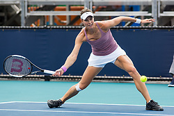 March 18, 2019 - Miami Gardens, FL, U.S. - MIAMI GARDENS, FL - MARCH 18: Mandy Minella (LUX) in action during the Miami Open on March 18, 2019 at Hard Rock Stadium in Miami Gardens, FL. (Photo by Aaron Gilbert/Icon Sportswire) (Credit Image: © Aaron Gilbert/Icon SMI via ZUMA Press)