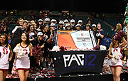 tournament after winning the championship game of the Pac-12 Conference women's basketball tournament Sunday, Mar. 10, 2019 in Las Vegas.  Stanford defeated Oregon 64-57. (Gerome Wright/Image of Sport)
