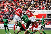 Rotherham United forward Michael Smith (24) gets in a header during the EFL Sky Bet League 1 play off second leg match between Rotherham United and Scunthorpe United at the AESSEAL New York Stadium, Rotherham, England on 16 May 2018. Picture by Nigel Cole.
