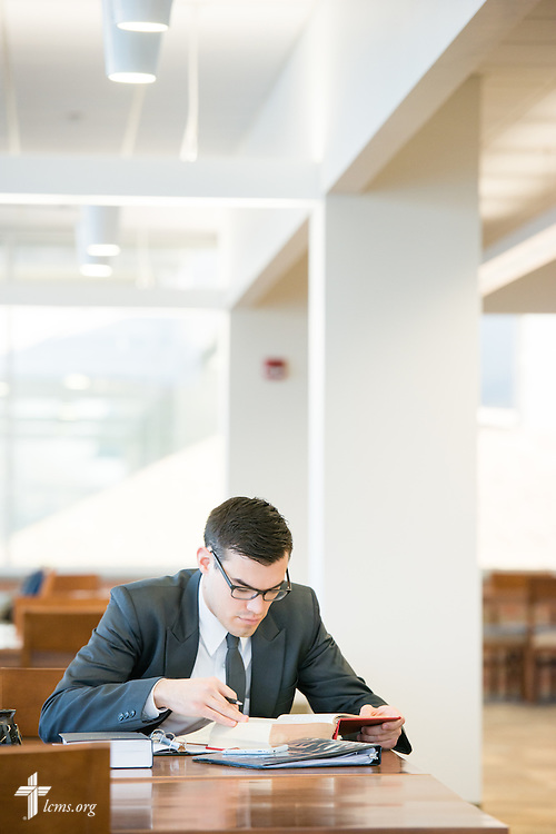 Seminarian Jacob Benson studies at Walther Library at Concordia Theological Seminary, Fort Wayne, Ind., on Wednesday, April 1, 2015. LCMS Communications/Erik M. Lunsford