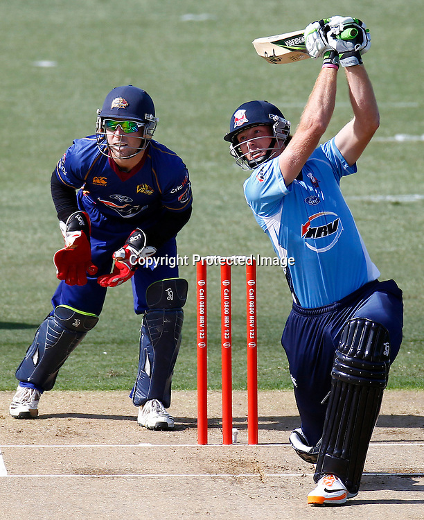 Martin Guptil plays a shot during the HRV Cup match between the Auckland Aces v Otago Stags. Men's domestic Twenty20 cricket. Colin Maiden Park, Auckland, New Zealand. Friday 6 January 2012. Ella Brockelsby / photosport.co.nz