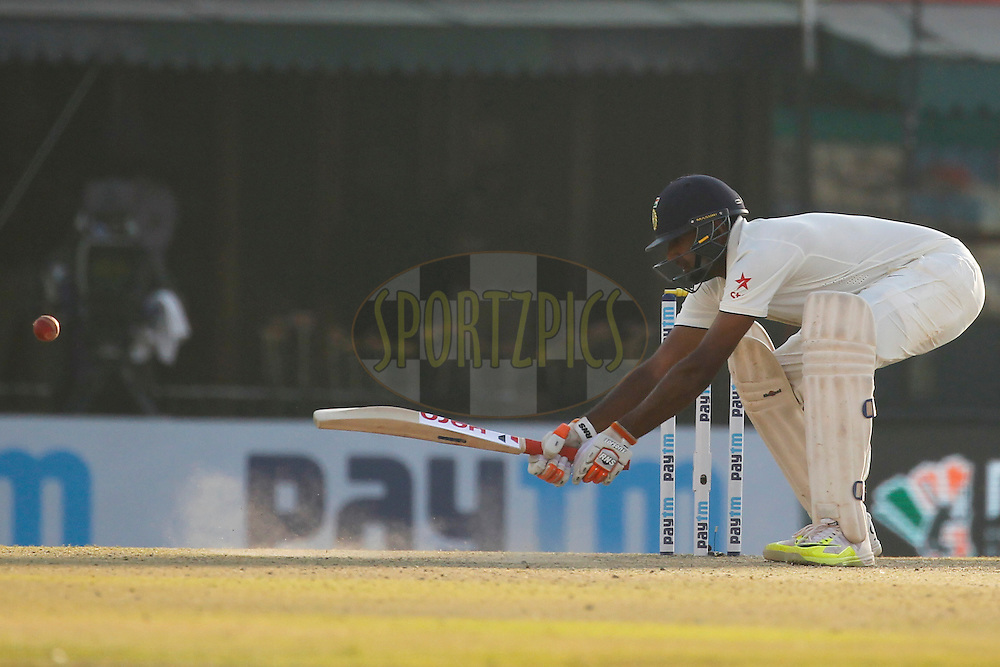 Ravichandran Ashwin of India bats during day 2 of the third test match between India and England held at the Punjab Cricket Association IS Bindra Stadium, Mohali on the 27th November 2016.<br /> <br /> Photo by: Deepak Malik/ BCCI/ SPORTZPICS