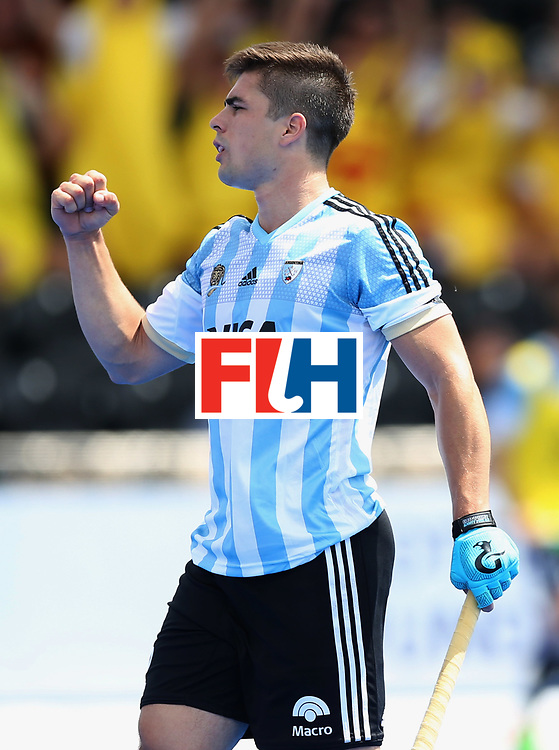 LONDON, ENGLAND - JUNE 15:  Gonzalo Peillat of Argentina (2) celebrates as he scores their second goal during the Pool A match between Korea and Argentina on day one of Hero Hockey World League Semi-Final at Lee Valley Hockey and Tennis Centre on June 15, 2017 in London, England.  (Photo by Alex Morton/Getty Images)