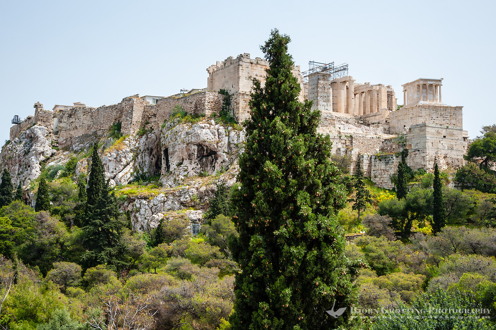 Athens, Greece. View from Areopagus below the Acropolis. The Propylaea.
